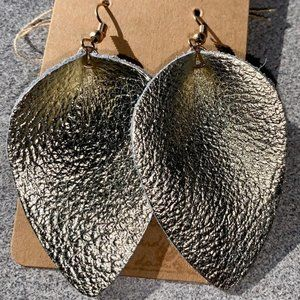 3 for $20 - gold leather earrings